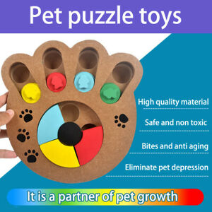 Dogs Puzzle Toys Bones Paw Prints Wooden Feeding Multi-functional InteractivYUA