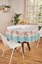 White + Blue tablecloth with Pink Roses Printed Floral Cotton Round & rectangle