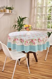 Blue tablecloth with Pink Roses Printed Floral Cotton Round & rectangle