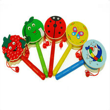 Cartoon Rassel Holz Handbell Jingle Rattle Spielzeug Musikinstrument für Baby WH