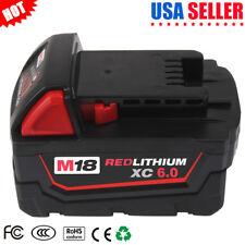 18V 6.0Ah Li-ion Battery for Milwaukee M18 48-11-1850 Extended Xc 6.0 M18B 2620