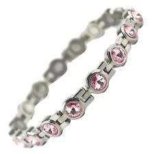 Ladies Titanium Magnetic Bracelet with Chrome & Pink Crystals Finish Stylish