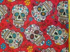 Folkloric Skulls, Sugar Skull Fabric, The Day of The Dead Fabric