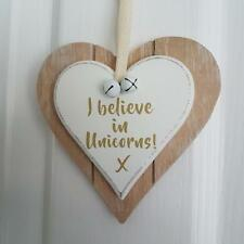 I Believe In Unicorns Chic n Shabby Wooden Double heart Plaque