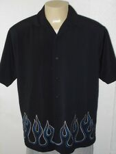 SAPPHIRE LOUNGE FLAME EMBROIDERED RETRO BLACK BUTTON-FRONT CAMP SHIRT MEN LARGE