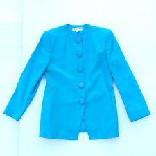 Christian Dior Vintage Womens Coat Size 10 Large Turquoise Oversized Jacket 80s