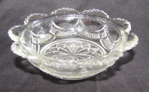 Vintage Glass Cut Butter or Trinket Dish 8cm Across Retro