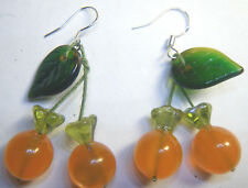 LUCITE ORANGE CHERRY DANGLE EARRING CZECH GLASS LEAF 925 STERLING WIRES