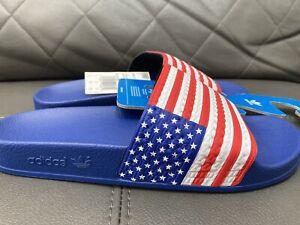 New ADIDAS ADILETTE Size 9 Us Slides Sandals  USA Flag America Style G55380 Mens