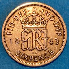 1943 Great Britain GB UK England 6 Pence 0.5000 Silver Coin