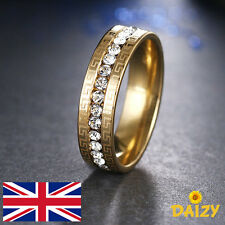 GOLD SPARKLY CRYSTAL ETERNITY RING CZ ZIRCON BLING STAINLESS STEEL DESIGN NEW