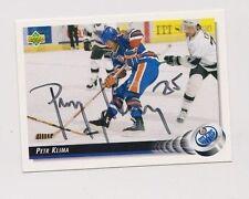 92/93 Upper Deck Petr Klima Edmonton Oilers Autographed Hockey Card