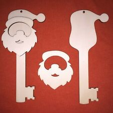 50 x large SANTA KEY FATHER CHRISTMAS UNPAINTED CRAFT BLANK WOODEN HANGING TAG