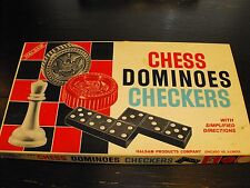 Vintage Chess Dominoes Checkers with Simplified Directions Halsam No. 407