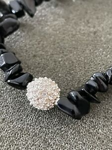 Lia Sophia Crystal Stretch Bracelet BLACK hematite and cut CZ NWOT