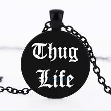 THUG LIFE Black/Bronze/Tibet silver glass dome chain Pendant Necklace