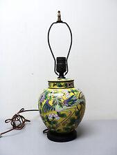 19th C. ANTIQUE CHINESE CLOISONNE ENAMEL ON BRONZE TABLE LAMP, PHOENIX/FLORALS