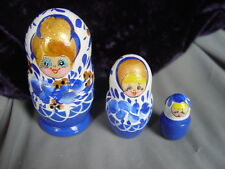 RUSSIAN BABUSHKA HAND PAINTED WOODEN DOLL--3 dolls in 1