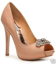 Badgley Mischka Greatful open toe pumps heels SILK wedding bridal shoes Camel 9