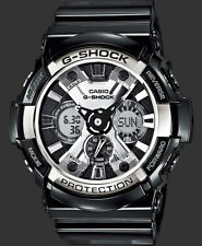 CASIO GSHOCK CHROME DIAL XLARGE FACE GLOSSY BLACK BAND WATCH GA200BW-1A