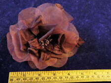 "Millinery Flower Burgundy 5"" Filmy Silk Organza Hat Wedding or Hair Km4 B"