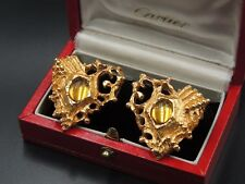 CHRISTIAN LACROIX FRENCH HAUTE COUTURE SIGNATURE GOLD BRUTALIST HEARTS EARRINGS!