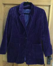 Purple Velvet Ladies Suit Jacket Coat Size 12 *