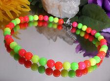 Leuchtende Neon Halskette runde Perlen 10 mm Gelb Grün Orange Pink