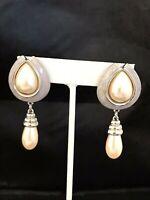 Vintage Earrings Simulated Pearls Enamel Pierced Silver Tone Classic Daria 2K