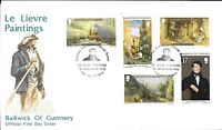 """GUERNSEY F.D.C. 15/11/80 SG 221-25 CHRISTMAS """"LE LIEVRE PAINTINGS"""" + INSERT."""