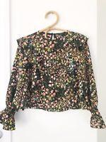 ZARA BASIC Size XS Black Floral Long Sleeve High Neck Elastic Cuffed Blouse Top