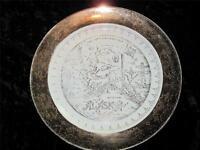 VINTAGE GILDED Souvenir Plate ALASKA 'Crest-o-Gold' SABIN Warranted 22K Gold