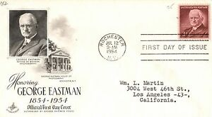 1954 Art Craft Cachet Envelope FDC George EASTMAN Photography Addressed
