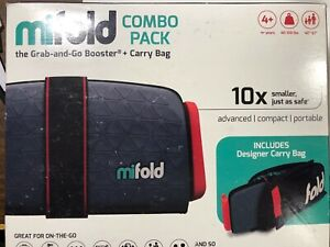 Mifold Grab and Go Car Booster Seat Slate Grey Compact portable