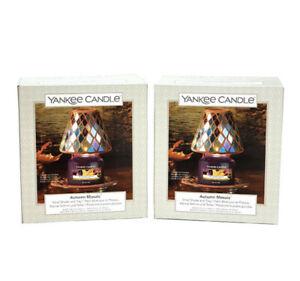 Pair 2 X OFFICIAL YANKEE CANDLE AUTUMN MOSAIC SMALL Jar Shade TRAY SETS Bundle