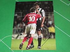 Philippe Albert firmato GIGANTE Newcastle United juninho scontro Fotografia