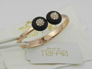 Trifari 12K Rose Gold-Plated Hinged Cuff Bracelet