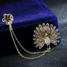 Rhinestone Flower Peacock Double Chain Tassels Brooch For Women Brooch Pop