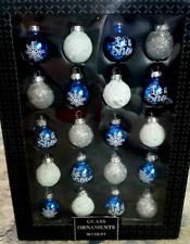 Christmas MINI Glitter Glass Ornaments Decorations Decor 20 Ct Blue Silver White