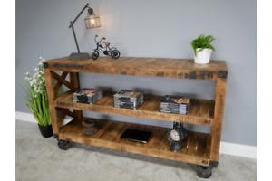 Industrial Shelves Wooden Side Shelves Rustic Retro Shelving Unit 6341