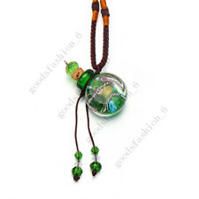 Green Glass Bottle Pendant Necklace Perfume Essential Oil Diffuser Handmade New