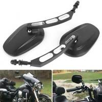 Black Edge Cut Motorcycle Rear View Mirrors For Harley Davidson Iron 883 XL 883N
