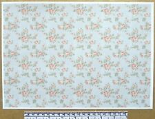 Dolls house 1/12th scale paper - A4 sheet - 'Pink roses pattern' wallpaper