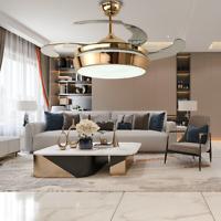 """42"""" Retractable Ceiling Fan Modern Invisible Fan Chandelier Fan Light+Remote New"""