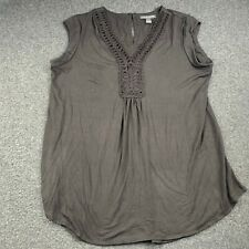 A PEA IN THE POD MATERITY BROWN SWIRL ACCENT BLOUSE TOP SHIRT SIZE LARGE EUC