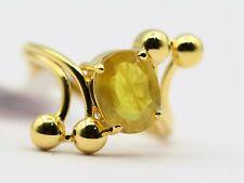 2.29 Ct Transparent Dark Natural Yellow Sapphire Pukhraj Ring in 18kt Gold