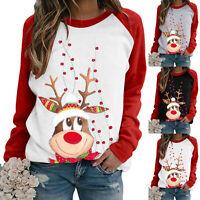 UK Womens Christmas Sweatshirt Jumper Santa Elk Print Xmas Hoodie Pullover Tops