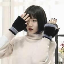 Faux Velvet Fingerless Winter Gloves Unisex Women Men Soft Warm Mittens Gifts