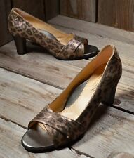 TARYN ROSE Sz 36.5/US 6.5 Shimmer Leopard Print Open-Toe Heels Leather NIB $445
