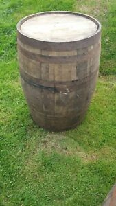 OLD RECLAIMED USED RUSTIC WHISKEY OAK WOODEN BARREL 40 GALLON - PUB BAR TABLE